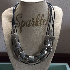 Silver and dark blue necklace
